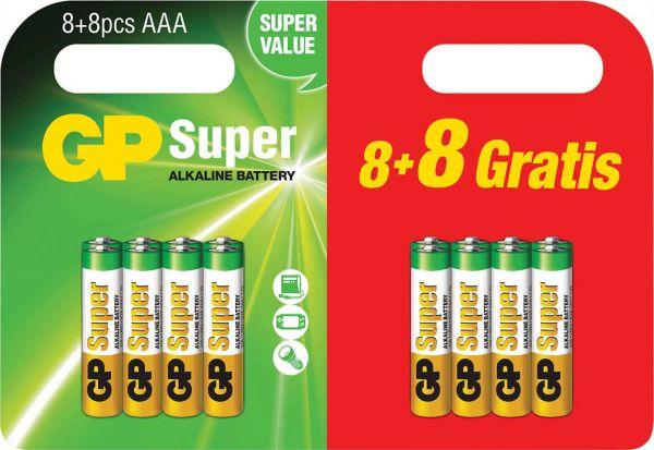 GP Super Alkaline 16er Blister LR03, 8+8 AAA GPPCA24AS465 Batterien GP24A8/8E-2BRD16