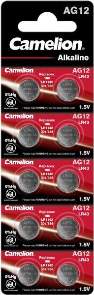 Camelion Alkaline Knopfzelle AG12 LR43 LR1142 386 1,5 V 10er Blister AG12-BP10