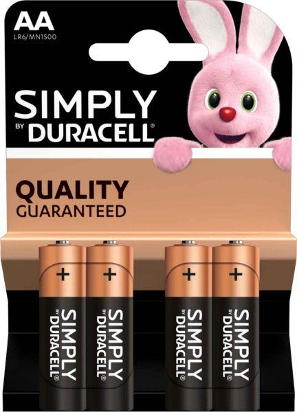 Duracell Simply Alkaline AA Batterien 4er Blister 1,5 V LR6 Mignon MN1500