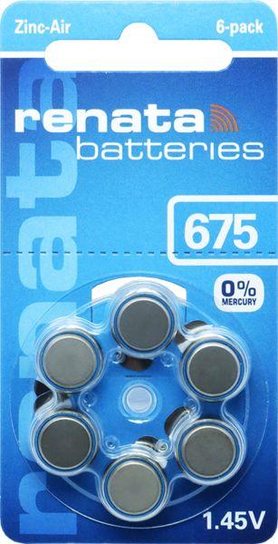 Renata 100793 Gr. 675 Hörgerätebatterien 6er Blister PR44 Blau REB
