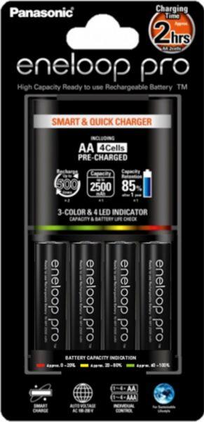 Panasonic eneloop Smart & Quick Charger Akku Ladegerät BQ CC55 + 4x eneloop pro AA 2.500 mAh K-KJ55H
