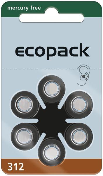 Varta ecopack Gr. 312 Hörgerätebatterien 6er Blister Braun 1,4V 24607