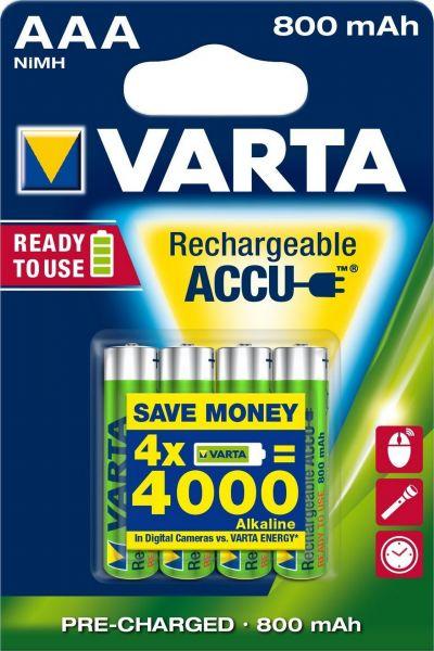 Varta Rechargeable Accu Ready2Use vorgeladener AAA Micro Ni-Mh Akku (4er Blister, 800mAh) 56703/BL4