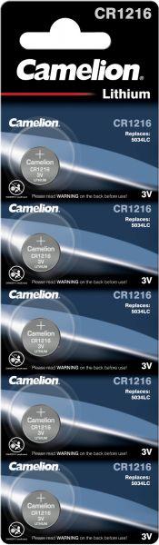 Camelion Lithium Knopfzelle CR1216 5034LC 1216 3V 5er Blister CR1216-BP5