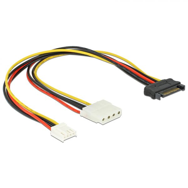 Delock Kabel Y-Power SATA (M) 15 Pin > 4 Pin Molex (F) + 4 Pin Floppy 65227