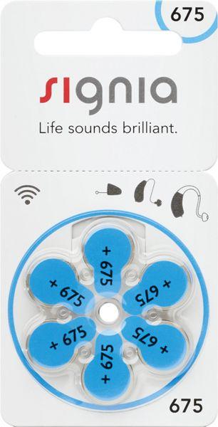 Signia Gr. 675 Hörgerätebatterien 6er Blister PR44 Blau 24600 24600313436