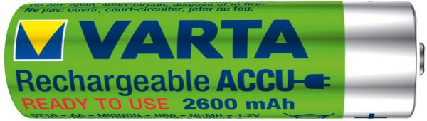 Varta 1 Zelle AA Akku Mignon NiMH 2600mAh Ready to use Bulk 5716