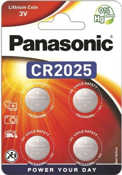 Panasonic Knopfzelle Lithium CR2025 Batterie 4er Blister 3V DL2025 BR2025 KCR2025 LM2025 CR-2025EL/4