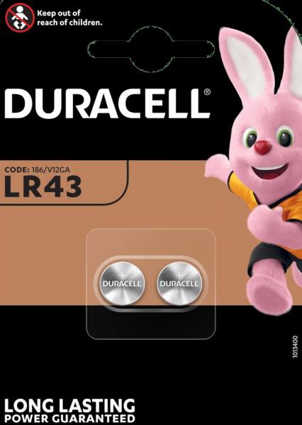 Duracell LR43 AG12 Alkaline Batterie 1,5V 2er Blister 186/V12GA
