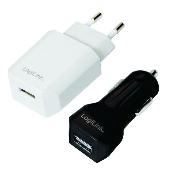 LogiLink USB Charger Set Car & AC