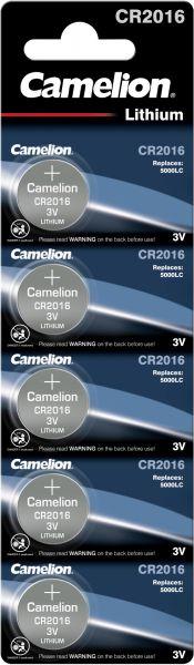 Camelion Lithium Knopfzelle CR2016 2016 3V 5er Blister CR2016-BP5