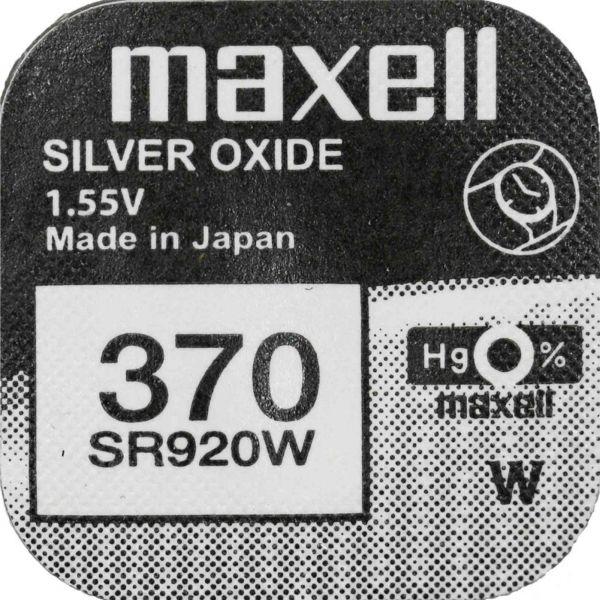 Maxell 370 Uhrenzelle Silber Oxid Knopfzelle SR 920 W V370 M370 39mAh 1,55 V 1er Blister SR920W