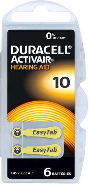 Duracell 7307 Activair Gr. 10 Hörgerätebatterien 6er Blister PR70 Gelb 24610 Hearing Aid