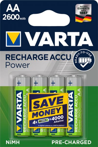 Varta AA Akku Mignon NiMH 2600mAh Ready to use 4er Blister 5716