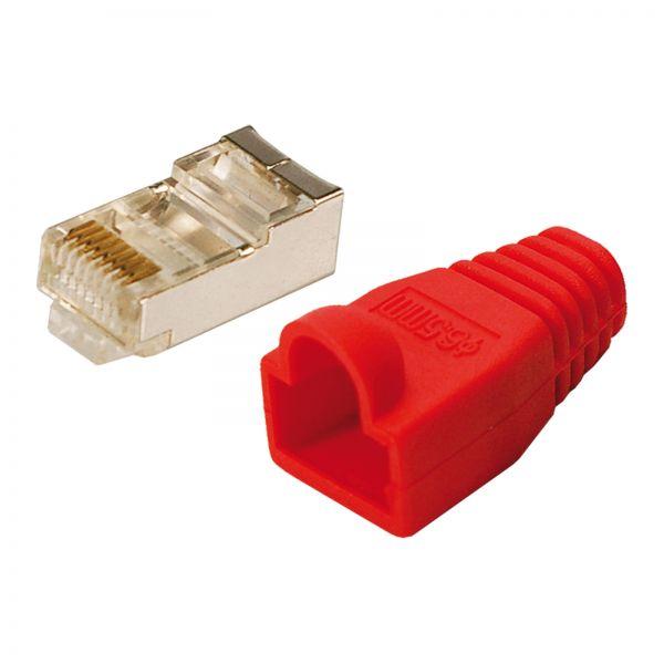 LogiLink Modularstecker CAT5e mit Knickschutzhülle rot 100 Stück