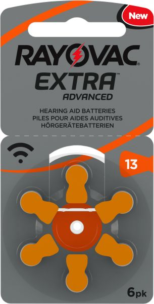 Rayovac Extra Advanced Gr. 13 Hörgerätebatterien 6er Blister PR48 Orange 24606 13AUX-6XEMF