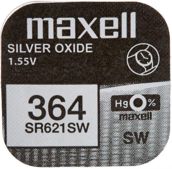 Maxell 364 Uhrenzelle Silber Oxid Knopfzelle SR 621 SW V364 18mAh 1,55 V 1er Blister SR621SW