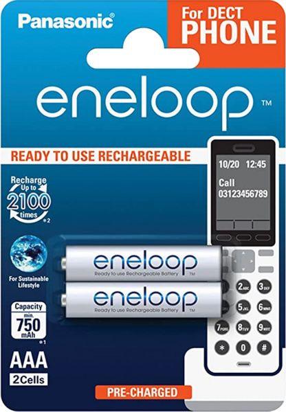 Panasonic eneloop AAA Akku For DECT PHONE 2er Blister HR03 BK-4MCCE/2DE