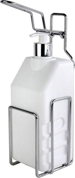 EWANTO Edelstahl Desinfektionsmittelspender inkl. Wandhalterung und 1000 ml Leerflasche mit Pumpspender E014011