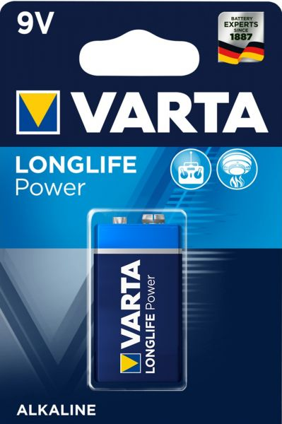 Varta Longlife Power Alkaline 9V Batterie 1er Blister 4922
