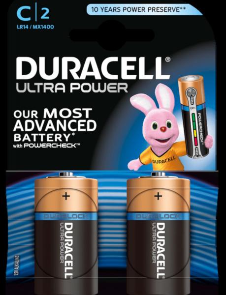 Duracell ultra power C LR14 Baby 1,5 V Alkaline Batterie 2er Blister MX1400 Mezza Torcia MX1400