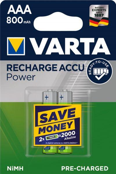 Varta Rechargeable Accu Ready2Use vorgeladener AAA Micro Ni-Mh Akku (2er Blister, 800mAh) 56703/BL2