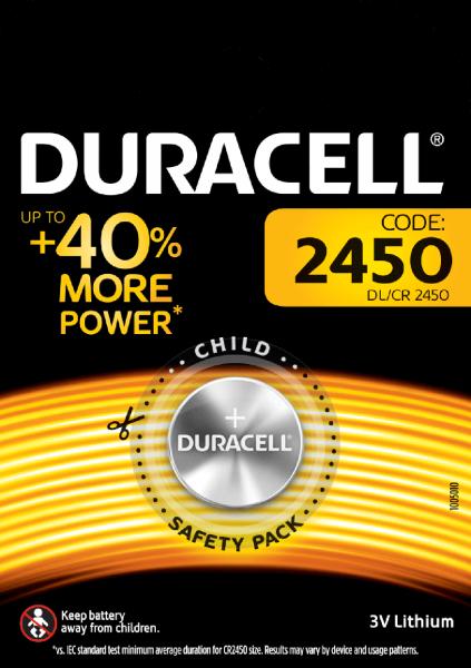 Duracell CR2450 Knopfzelle DL2450 Lithium 3V 1er Blister 620mAh 2450