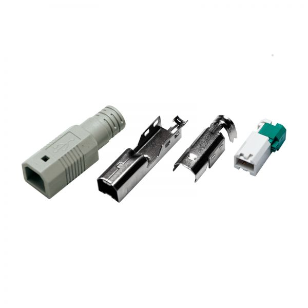 LogiLink USB-B Plus toolless type, set w. 3 parts incl. Boot, grey