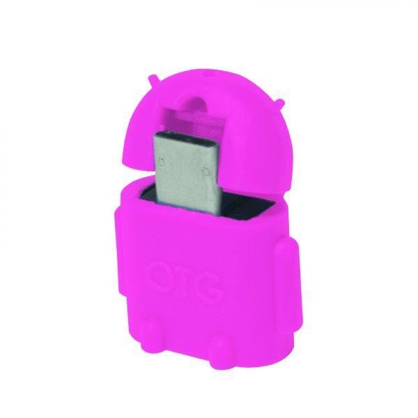 LogiLink Mini Micro USB B/M to USB A/F OTG adapter, pink