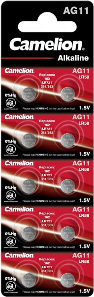 Camelion Alkaline Knopfzelle AG11 LR58 162 LR721 361/362 1,5 V 10er Blister AG11-BP10