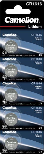 Camelion Lithium Knopfzelle CR1616 1616 3V 5er Blister CR1616-BP5