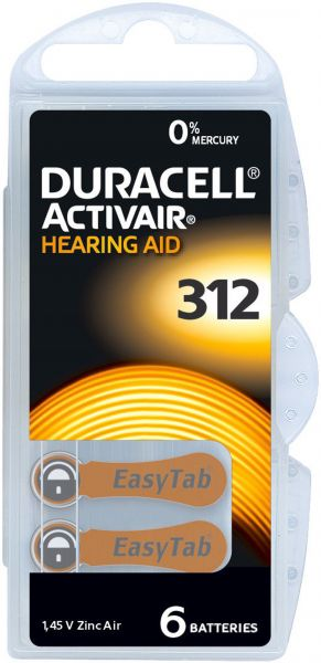 Duracell 24607777106 Activair Gr. 312 Hörgerätebatterien 6er Blister PR41 Braun 24607 Hearing Aid