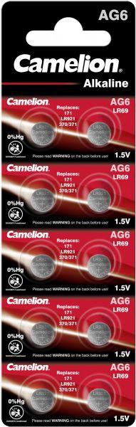 Camelion Alkaline Knopfzelle AG6 LR69 LR921 371 1,5 V 10er Blister AG6-BP10