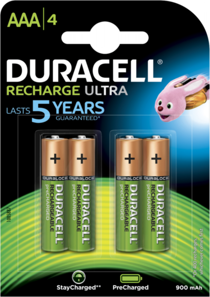 Duracell Recharge Ultra Akku AAA HR03 900 mAh vorgeladen 4er Blister Micro Mini Stilo DX2400