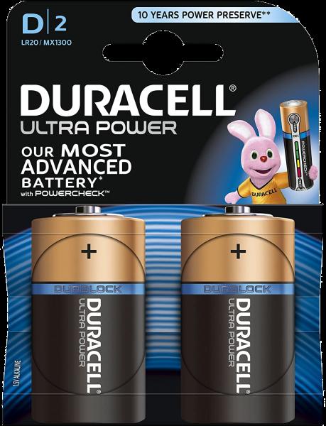 Duracell Ultra Power D LR20 Mono 1,5 V Alkaline Batterie 2er Blister MX1300 Torica MX1300