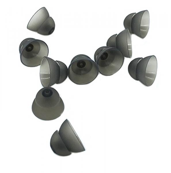 EWANTO Dome/Schirmchen aus Silikon für Hörgeräte Größe L (12 mm) Power Dome, anthrazit HA-17