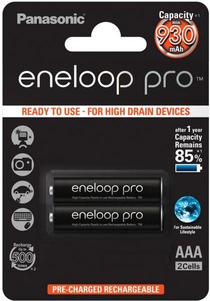 Panasonic eneloop Pro AAA Akku Micro min. 930 mAh 2er Blister 1,2 V LSD BK-4HCDE/2BE