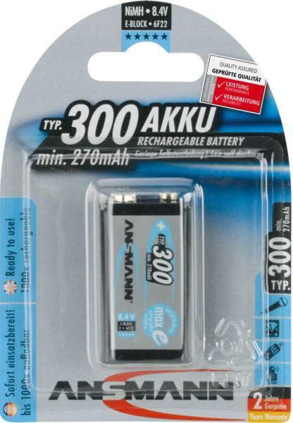 ANSMANN NiMH Akku 9V E-Block Typ 300 (min. 270 mAh) maxE 1er Blister LSD 5035453