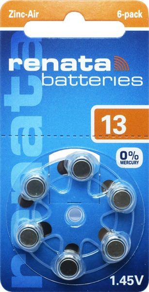 Renata Gr. 13 Hörgerätebatterien 6er Blister PR48 Orange REB 100791