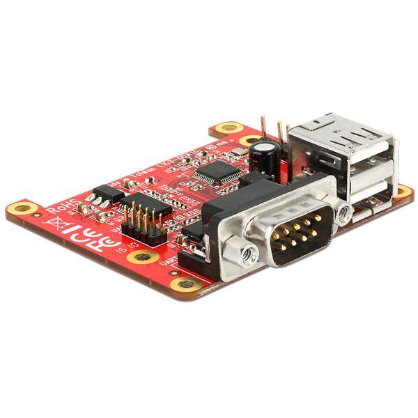 Delock Konverter Raspberry Pi USB Micro-B Buchse / USB Pin Header > 2 x USB Typ A Buchse + 2 x Serie