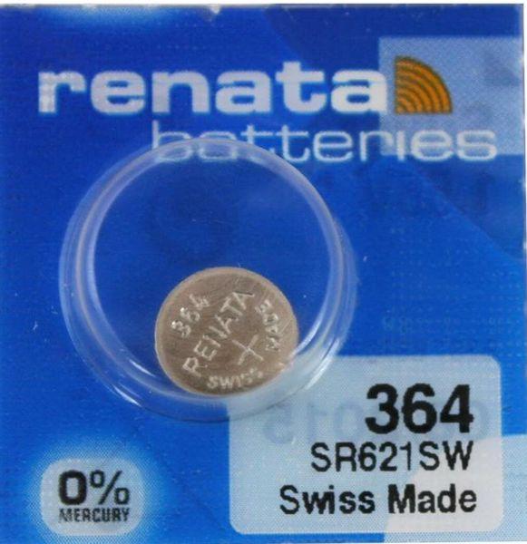 Renata Watch 364 Uhrenbatterie SR621SW MF 0% Mercury 1,55 V Battery 1er Blister (aus 10er Stripe) 364