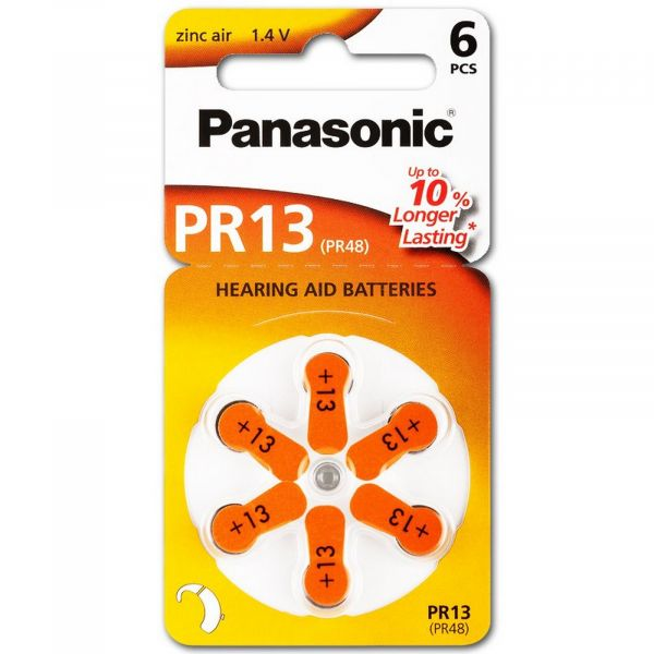 Panasonic Gr. 13 Hörgerätebatterien 6er Blister PR48 Orange 24606 PR-13 2A712149