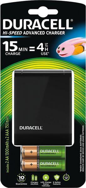 Duracell 1x Speed-Lader 1 Std + 2x AA Akku 1300 mAh + 2x AAA Akku 750 mAh im Blister Ladegerät CEF27