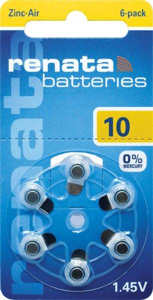 Renata Gr. 10 Hörgerätebatterien 6er Blister PR70 Gelb REB 100790