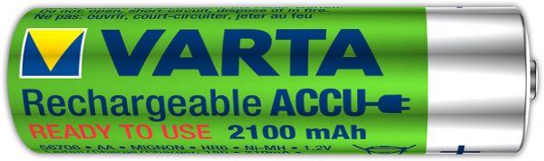 Varta 1 Zelle AA Akku Mignon NiMH 2100mAh Ready to use Bulk 56706