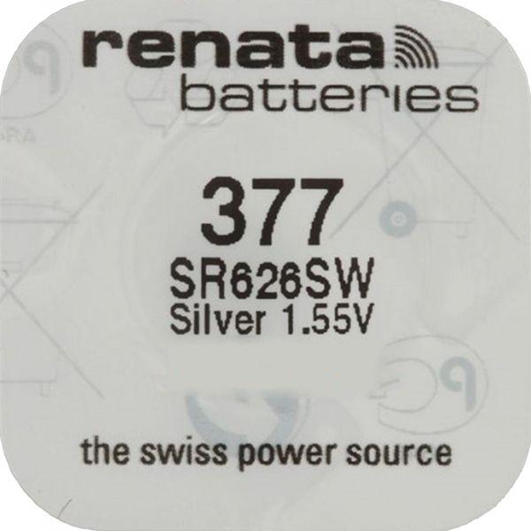 Renata Watch 377 Uhrenbatterie SR626SW MF 0% Mercury 1,55 V Battery 1er Blister 377