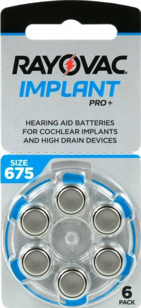 Rayovac Implant Pro Hörgerätebatterien Gr. 675 PR44 Blau 6er Blister Cochlear Implantat Implant Pro