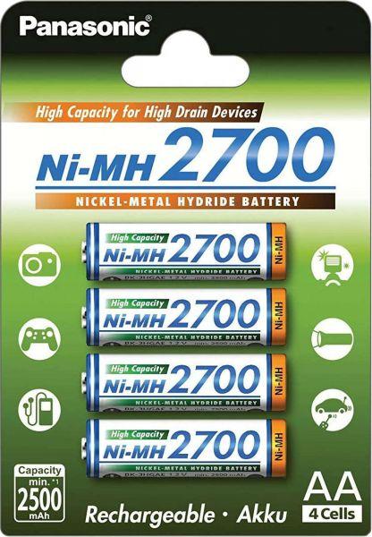 Panasonic AA Akku Mignon Ni-MH 1,2V 2700mAh 4er Blister - High Capacity for High Drain Devices HR6 BK-3HGAE/4BE