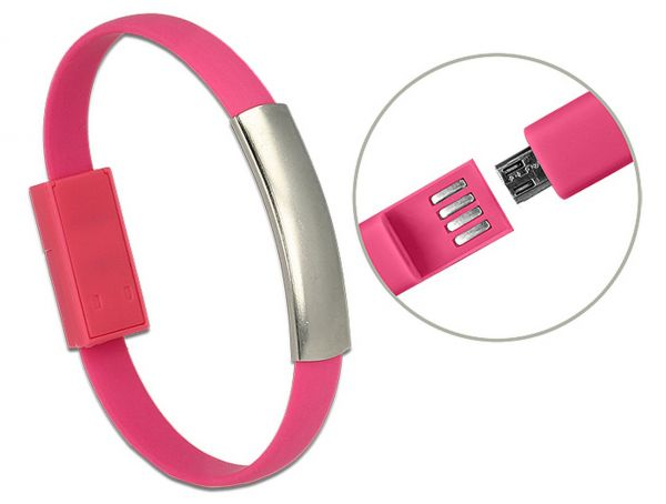 Delock USB Armband USB 2.0 Typ-A Stecker > USB 2.0 Micro-B Stecker pink 22 cm 83946
