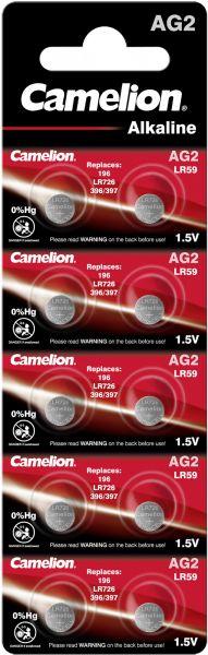 Camelion Alkaline Knopfzelle AG2 LR59 196 LR726 396/397 1,5 V 10er Blister AG2-BP10